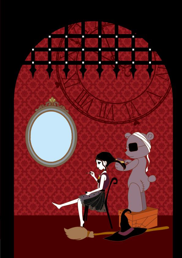 あきのはるの, イラスト, イラストレーター, イラスト作成, キャラクター, キャラクター作成,カワイイ,かわいい女の子,ガーリー,girly,ベクター画像,イラレ,女子,キレイ女子,,Halloween,ハロウィン,ハロウィンパーティー,クマ,ゴシック,魔女,Gothic,