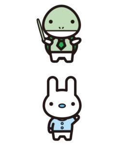 カメ先生とウサギ生徒、キャラクター作成、イラスト作成